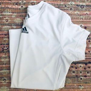 White V Neck Running Shirt Black Adidas Logo S